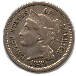 1889 3 Cent Nickel Near Uncirculated