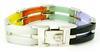 Sterling Multi-Colored Jade Gate Link Bracelet