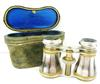 Antique French Mother of Pearl Opera Glasses & Case