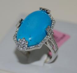 14kt White Gold Turquoise & Diamond Cocktail Ring