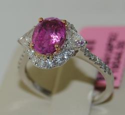18kt White Gold Pink Sapphire & Diamond Ring