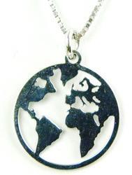 Sterling Silver World Globe Pendant & Chain