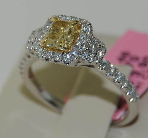 Fancy/Yellow Diamond Ring in 14kt White Gold