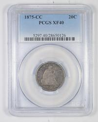 XF40 1875-CC Seated Liberty Twenty-Cent Piece - Graded PCGS