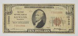 1929 $10 National Currency Note - Keewatin, MN