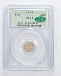 MS63 CAC 1858 Silver Three- Cent Piece - Trime - Graded PCGS