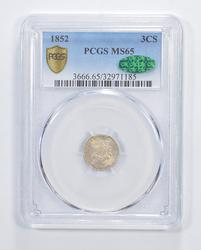 MS65 CAC 1852 Silver Three-Cent Piece - Trime - Graded PCGS