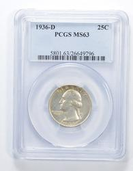 MS63 1936-D Washington Quarter - Graded PCGS