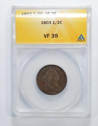 VF35 1803 Draped Bust Half Cent - Graded ANACS