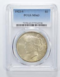 MS63 1922-S Peace Silver Dollar - Graded PCGS