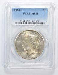 MS65 1924-S Peace Silver Dollar - Graded PCGS