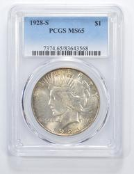 MS65 1928-S Peace Silver Dollar - Graded PCGS