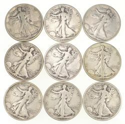 (Lot 9) 1918-S Walking Liberty Half Dollars
