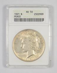 AU50 1921 Peace Silver Dollar - Graded ANACS