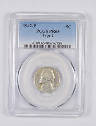 PR65 1942-P Jefferson Nickel - Type 2 - Graded PCGS