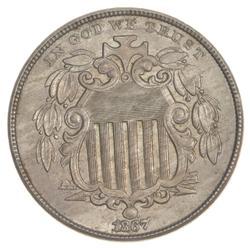 1867 Shield Nickel - NO RAYS
