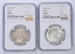 (2) MS65 1946 Iowa Centennial Commemorative Half Dollars - Graded NGC
