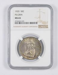 MS65 1920 Pilgrim Commemorative Half Dollar - Graded NGC