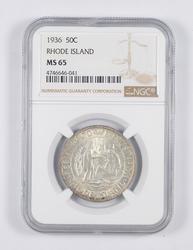 MS65 1936 Rhode Island Commemorative Half Dollar - Graded NGC
