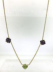 Fabulous Amethyst & Peridot 3 Flower Necklace