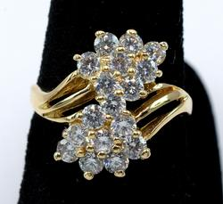 Incredible 14KT Yellow Gold CZ Cluster Ring