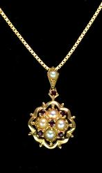 Fancy Pearl & Ruby Pendant with Chain, 14KT Yellow Gold