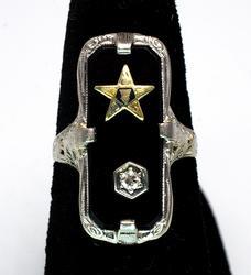 14KT White Gold Eastern Star Ring