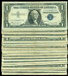 Large lot of 67 Series of 1935 $1 Silver Certificate