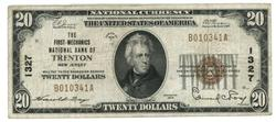 1929 Series $20 National of Trenton, New Jersey (1327)