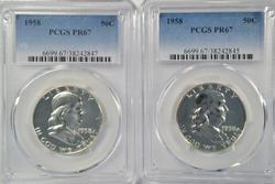 PCGS PR67 graded 1958 & 1959 Franklin Half Dollars