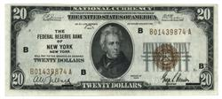 Nearly Unc 1929 Series $20 National of New York, NY (B)