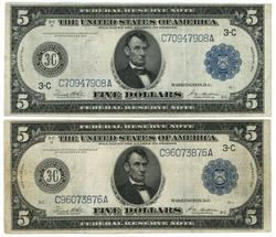 2 Nice1914 Series Large Size $5 Federal Reserve Notes