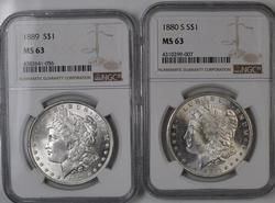 1880 S and 1889 MS 63 NGC Holdered Frosty White Morgans