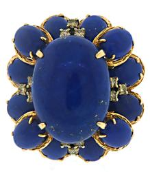Exciting Oval Lapis and Diamond Cocktail ring