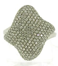 Lovely Pave Diamond Cushion Wave Ring