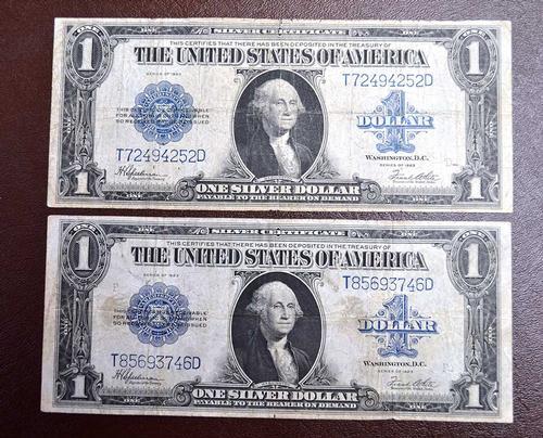 2 $1.00 1923 SILVER CERTS. FR# 237