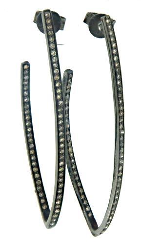 Sterling Silver Diamond Chevron Earrings