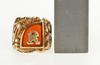 10K Yellow Gold 1940's Dragon Carnelian K R Letter Initial Ring