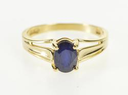 10K Yellow Gold Oval Cut Blue Sapphire Solitaire Engagement Ring