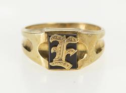 10K Yellow Gold F E Initial Monogram Black Onyx Retro Fashion Ring