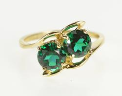 10K Yellow Gold Two Stone Retro Sim. Round Emerald Bypass Ring