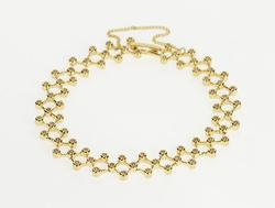 14K Yellow Gold 1.50 Ctw Diamond Checkered Lattice Tennis Bracelet