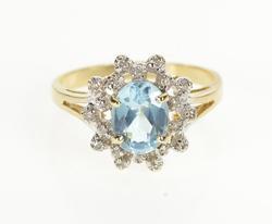 10K Yellow Gold Diamond Halo Oval Blue Topaz Engagement Ring