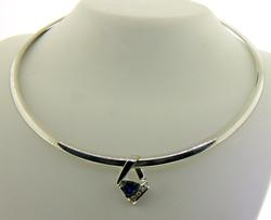 Luxurious Omega Necklace w Sapphire and Diamond Slide