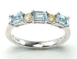 Shimmering Aquamarine & Diamond Ring in Sterling