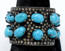 Fun & Funky Turquoise & Diamond Band in Sterling