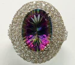 Hypnotic Mystic Quartz & Topaz Halo Ring in Sterling