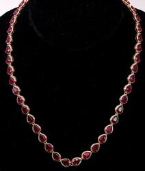 Incredible 43.42CTW Ruby Vermeil Necklace
