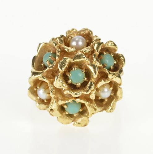 14K Yellow Gold Turquoise and Pearl Flower Ornate Cocktail Ring