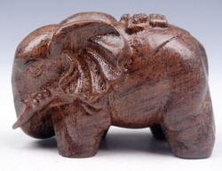Wild Elephant Mahogany Hard Wood Carved Sculpture